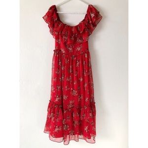 ZARA Red Floral Print Dress | Sz M